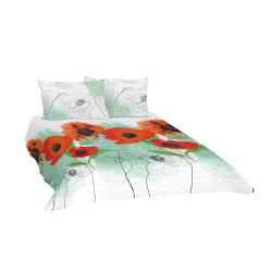 Памучно покривало за спалня с две калъфки за възглавница Макове