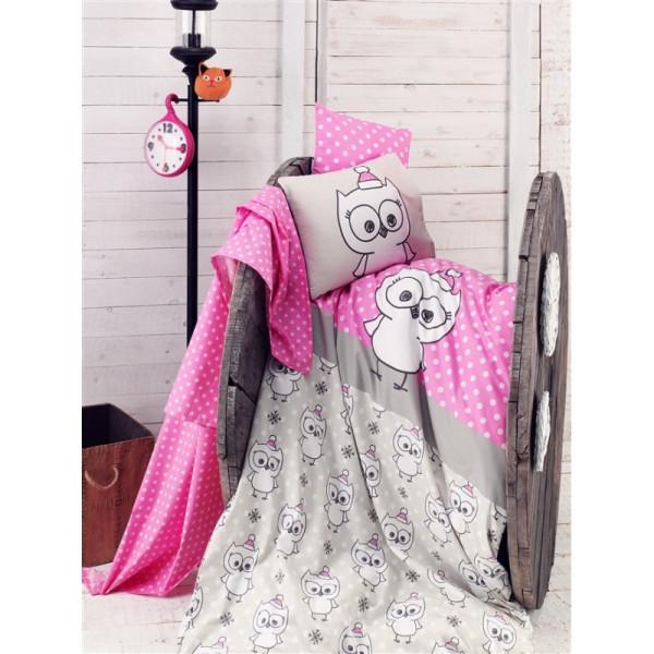 Бебешки памучен спален комплект Сладкото Бухалче - Спално бельо Ранфорс