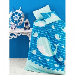 Бебешки памучен спален комплект Синия делфин - Спално бельо Ранфорс
