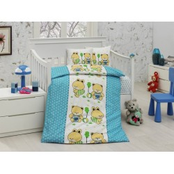 Памучен бебешки спален комплект Зайче и Мече
