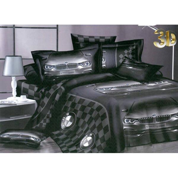 Впечатляващ 3D спален комплект BMW - микрофибър