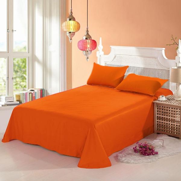 100% памучен чаршаф с калъфки за възглавница ORANGE