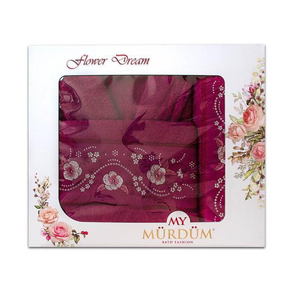 Луксозни халат и кърпи с бродерия в люляково