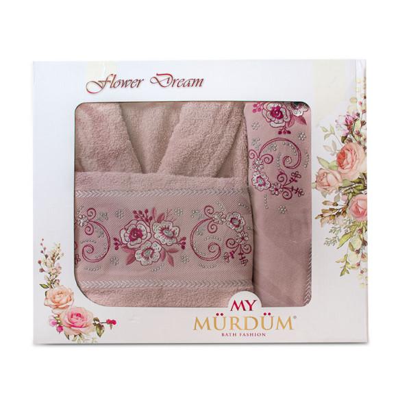 Луксозни халат и кърпи с бродерия в пепел от рози