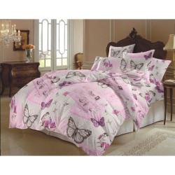 100% Памучен спален комплект Любовно писмо в розово