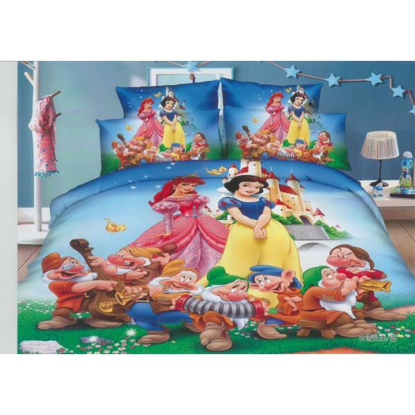 Уникално покривало за детско легло с калъфка за възглавница Ариел, Снежанка и джуджетата