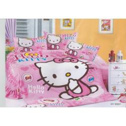 Уникално покривало за детско легло с калъфка за възглавница Хелоу Кити