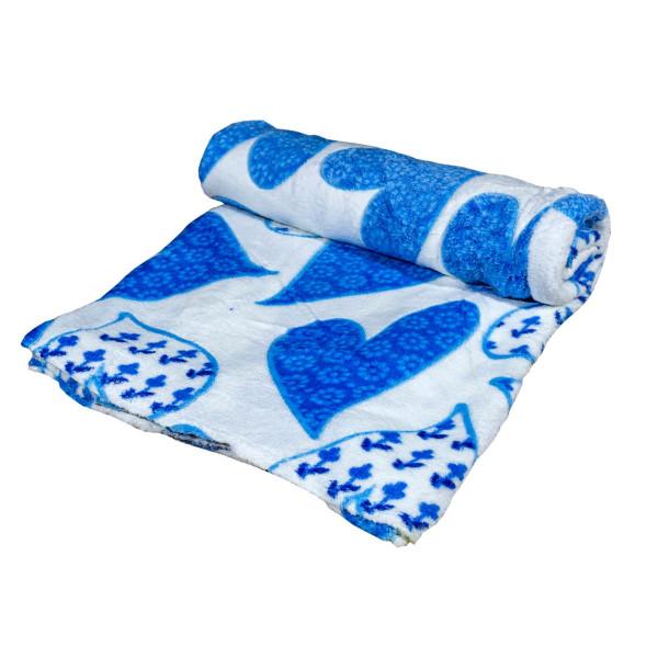 Дизайнерско одеяло плюш Сини сърчица