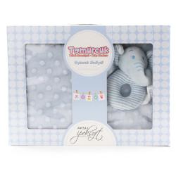 Бебешки комплект син - пухкаво одеяло с играчка