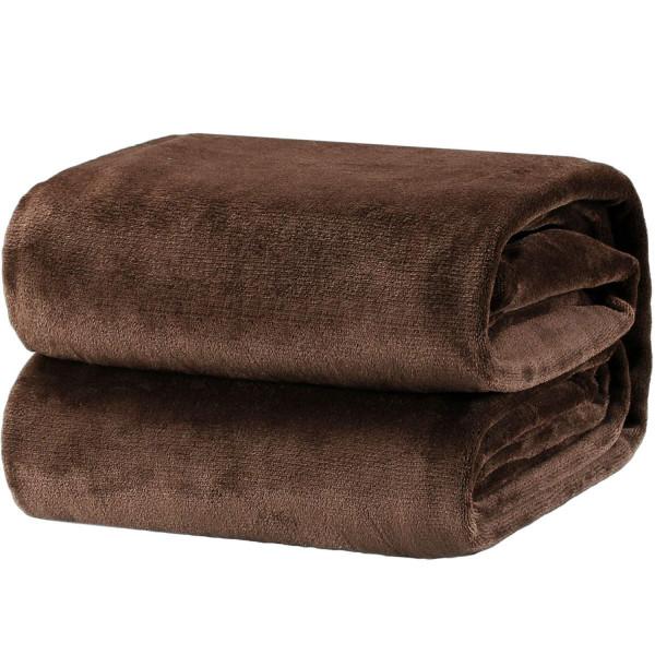 Меко поларено одеяло Есен - кафяво