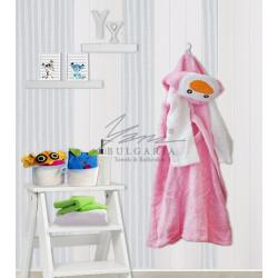 Памучен детски халат Розово пингвинче