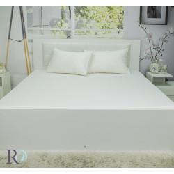 Долен чаршаф от сатениран памук - Бял