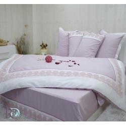 Романтично спално бельо Lux Sisi Lila - памучен сатен с дантела