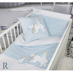 Памучен бебешки спален комплект с чаршаф с ластик - Бели мечки