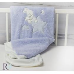 Синьо бебешко одеяло с бродерия зайче