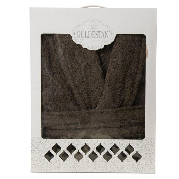 Памучен халат за баня - Стил кафяв