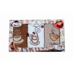 Комплект 3 броя кухненски кърпи Кафе
